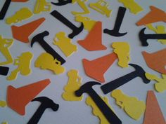 Die cut construction themed confetti. Perfect for construction themed party, handy man party, retirement party, Dads birthday, or in a fathers day