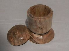 This cute trinket box was turned out of Ambrosia Maple.  A great piece for the kitchen or bathroom counter for your rings or other jewelry you want to keep safe.  Great on your desk for all those little things you need to keep organized.  Measures approx: 5 3/4 tall x 4 1/8wide 2 5/8 deep