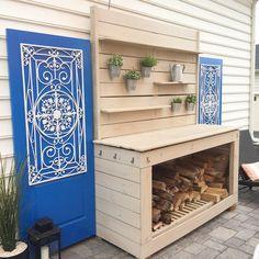 Outdoor DIY Potting Bench Outdoor Wood Storage
