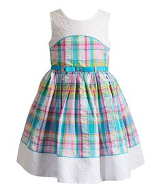 Take a look at this Pink & Blue Plaid Eyelet-Accent A-Line Dress - Toddler & Girls today!