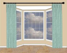 When there& wall space on either side of the bay window, hang your rod high . When there& wall space on either side of the bay window, hang your rod high … Kitchen Window Treatments With Blinds, Kitchen Window Blinds, Bay Window Treatments, Blinds For Windows, Window Coverings, Bay Windows, Small Windows, Style At Home, Bedroom Windows