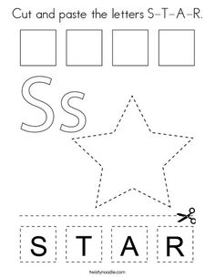 Cut and paste the letters S-T-A-R Coloring Page - Twisty Noodle Printable Preschool Worksheets, Preschool Learning Activities, Preschool Classroom, Shape Coloring Pages, Alphabet Coloring Pages, Letter S Crafts, Shape Poems, Preschool Programs, Learning Letters