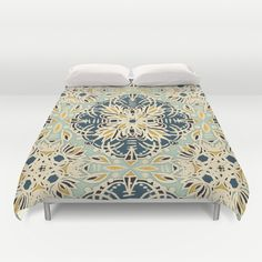 Buy ultra soft microfiber Duvet Covers featuring Protea Pattern in Deep Teal, Cream, Sage Green & Yellow Ochre by micklyn. Hand sewn and meticulously crafted, these lightweight Duvet Cover vividly feature your favorite designs with a soft white reverse side.