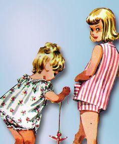 1950s Vintage McCalls Sewing Pattern 3595 Toddler Girls Shortie Pajamas Size 4 #McCalls #ShortiePajamas