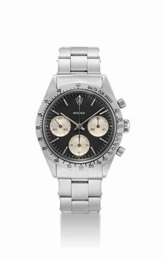 """Rolex. A very fine, rare and unusual stainless steel chronograph wristwatch with black """"solo"""" dial and bracelet, circa 1963 #ChristiesWatches"""