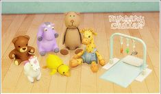 "lina-cherie: ""Nursery clutter - 7 conversions Some deco to clutter up your kiddies room ♥ • Danglemaster - Mesh from Ts2 (3 colors by An-na) - DECO ONLY • Table unicorn - Mesh from Ts3 • Teddy - Ts3..."
