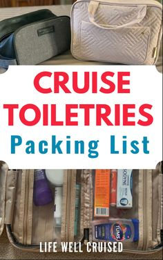 A packing list of toiletry essentials to pack for your cruise vacation. A list of must have items to bring on a cruise for women, men and kids for all cruises. If you are doing a Caribbean cruise or sailing to the Bahamas, or an Alaska cruise or cruise in Europe, this list is a keeper!!