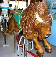 Carousel:  The Chesapeake #Carousel Bison - Unknown Carver - 3rd Row Jumper - Very rare Bison.