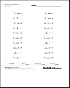 Multiplication PreAlgebra Problems  Multiplication Worksheets