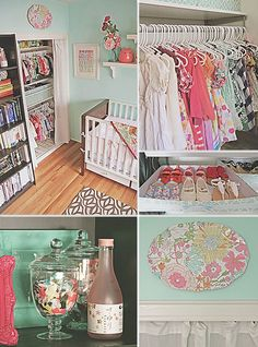Pink and Aqua Girl's Nursery Doubles as Office Space | Baby Lifestyles