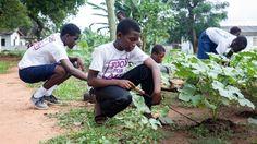 Food for All: Schoolvrienden en vrijwilligers helpen Andrew met onkruid wieden.