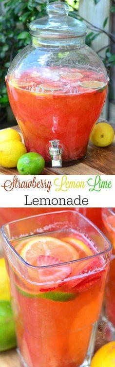 Homemade Strawberry Lemon Lime Lemonade. Handmade lemonade made with addition of fresh lime juice and sweet, strawberry sauce made from fresh delicious strawberries. #drink #summerdrink #lemonade #strawberry #strawberrylemonade