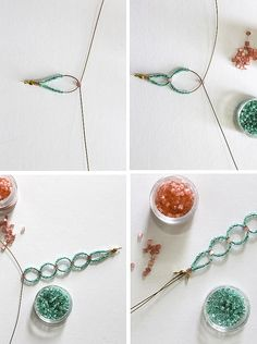 DIY Seed Bead Circle Bracelet - closure with crimp & side-hinge calotte  . . .  ღTrish W ~ http://www.pinterest.com/trishw/  . . . #handmade #jewelry #beading