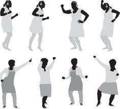 Vectores libres de derechos: Multiple images of a woman dancing