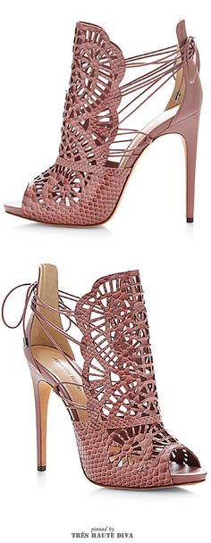 Alexandre Birman ~ Cut-Out Python Sandals, Dusty Rose