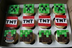 MINECRAFT CUPCAKES by cakewalkdesserts, via Flickr Minecraft Party Games, Minecraft Cupcakes, Minecraft Crafts, Party Sweets, Party Cakes, 8th Birthday, Birthday Parties, Birthday Ideas, Little Boy Cakes
