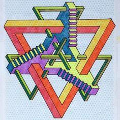 Impossible by odonodo on DeviantArt - Mathe Ideen 2020 Mc Escher, Escher Art, Isometric Art, Isometric Design, Art Optical, Optical Illusions, Graph Paper Art, Geometric Drawing, Desenho Tattoo