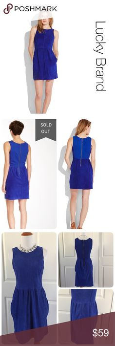 Lucky Brand cobalt suede dress like new size S ♦️Like new. Now stains holes or piling. ♦️Materials- 100% GOAT SUEDE 50% COTTON 46% POLY 4% SPANDEX Lucky Brand Dresses Midi