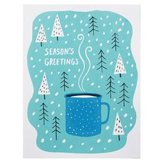 Season's Greetings Enamel Cup Card Set by Lucky Horse Press