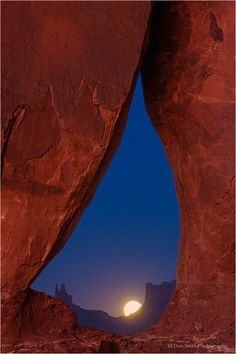 Moonrise Through Teardrop Arch, Utah-Arizona border near Monument Valley Navajo Tribal Park