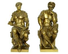Antique Bronze Sculptures of Giuliano and Lorenzo de Medici After Michelangelo