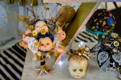Our Creepy Dolls Head Bouquet on display. Creepy Dolls, Doll Head, Photo Credit, Bouquet, Display, Christmas Ornaments, Holiday Decor, Photography, Floor Space