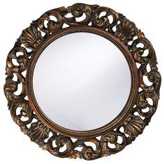 "Howard Elliott Glendale Antique Gold Mirror 26"" Diameter x 2"""