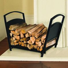 Shop Pleasant Hearth 923 Log Holder at Lowe's Canada. Find our selection of fireplace tools at the lowest price guaranteed with price match + off. Log Home Plans, House Plans, Firewood Holder, How To Build A Log Cabin, Rustic Loft, Rustic Industrial, Log Holder, Rustic Fireplaces, Log Cabin Homes