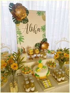 Loving the dessert table at this Pineapple Birthday Party!See more party ideas a. Loving the desse Aloha Party, Luau Theme Party, Hawaiian Luau Party, Hawaiian Birthday, Luau Birthday, Hawaiian Theme, Luau Party Desserts, Hawaiian Cupcakes, Pineapple Cupcakes