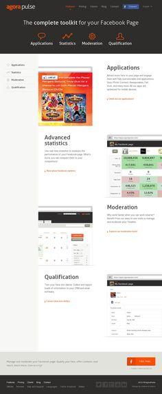 The website 'http://www.agorapulse.com/features' courtesy of @Pinstamatic (http://pinstamatic.com)