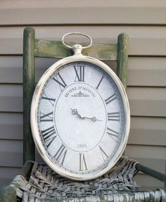 Oval Pocket Watch Wall Clock Cottage White Metal Hanging 19 Tall