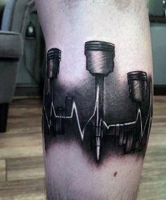Sound Wave Piston Tattoo On Man