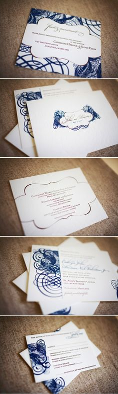 """My amazing wedding invitation suite designed and made for me by the incredible ladies of #wileyvalentine.  The invites were beyond exquisite.  Even prettier than the photos because some are blind embossed.  The design is actually a oversized Baroque letter """"V"""" From wayyyy back in 2007. :)  Featured at the time on #stylemepretty."""