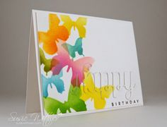 handmade birthday card from Procraftination ... stencil butterflies in bright colors over-lapping ... die cut HAPPY hidden with stamping on top ... bright and cheerful ...