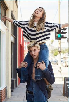 Lucky Blue Smith and Hailey Baldwin take to the streets of Los Angeles for Hilfiger Denim's fall-winter 2016 campaign.