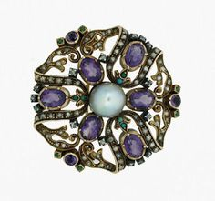 It's All in the Setails as Shows in This Magnificient Brooch of 14K Yellow Gold, Oval Faceted & Cabochon Amethysts, Opals, Small Seed Pearls and a Large Natural South Sea Pearl.