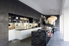 black kitchen island marble top