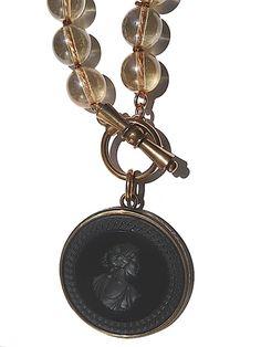 Necklace Intaglio Black Champagne Glass by Extasia
