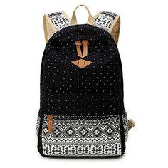 Women's Black Polka Dots Backpack for College Bookbag for Teen Girls School Bag