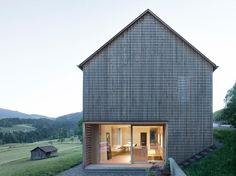 House For Julia And Björn is a wooden residence in Austria& picturesque Bregenz Forest - architecture + facade - # Architecture Durable, Residential Architecture, Contemporary Architecture, Architecture Design, Dezeen Architecture, Timber Cladding, House Roof, Gable House, Farm House