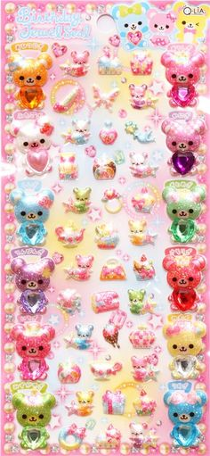 kawaii bears jewelry glitter sponge sticker from Japan 2