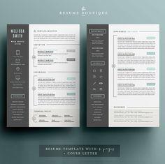 Resume Template 3pk CV Template Cover par TheResumeBoutique