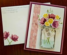 A Floral Bouquet using Stampin' Up! Jar of Love & Everyday Jars Framelits Dies.  Details at www.margaretknight.net