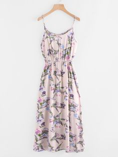 SheIn offers Botanical Print Cami Dress & more to fit your fashionable needs. Women's Dresses, Stylish Dresses, Pretty Dresses, Casual Dresses, Short Dresses, Girls Fashion Clothes, Teen Fashion Outfits, Girl Fashion, Fashion Dresses