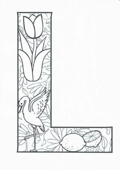 Coloring Letters, Abc Coloring Pages, Valentine Coloring Pages, Coloring Books, Printable Alphabet Letters, Alphabet Blocks, Zentangle Patterns, Colorful Pictures, Kindergarten