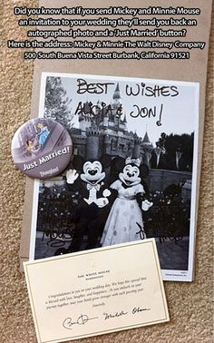 Invite Minnie and Mickey to your wedding and receive an autographed picture in return!