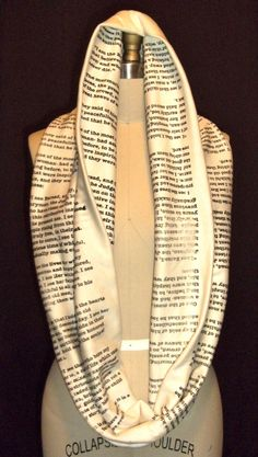 Book scarves. Pride and Prejudice quotes. (Get one with Wizard of Oz quotes)