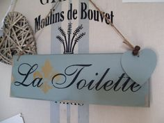Slight second Shabby Chic French La Toilette Handpainted, & stencilled  Annie Sloan Duck egg blue sign with painted heart and rusty bells on Etsy, $20.00