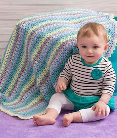 Baby Stripes Blanket Free Crochet Pattern from Red Heart Yarns