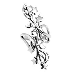 Gorgeous Stars and Half Moon Swirl Vine .925 Silver Ring (Thailand)